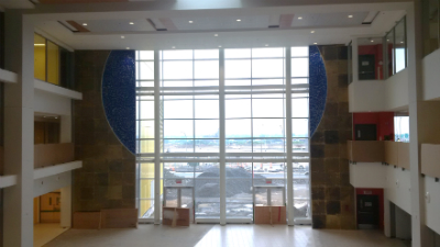The Montreal Children's Hospital's future atrium, where the bear will be seen in the distance.
