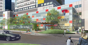 A conceptual view of the entrance of the new Montreal Children's Hospital.