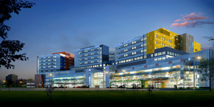 A full-colour architectural rendering of the future MUHC at the Glen site. The Montreal Children's Hospital will be located on the right.