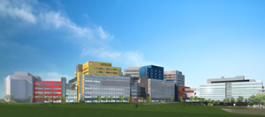 An architectural drawing of the MUHC Glen site as seen from the Ville-Marie Expressway. The Montreal Children's Hospital will occupy Block A and Block B (far left).