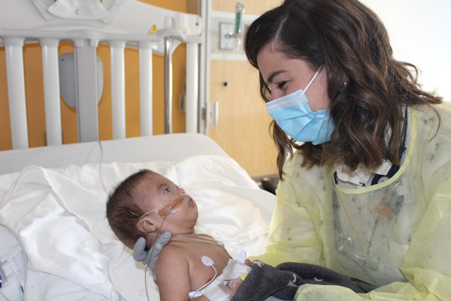 Dr. Aisling O'Gorman examines Samuel during his admission to the Children's for a respiratory infection.