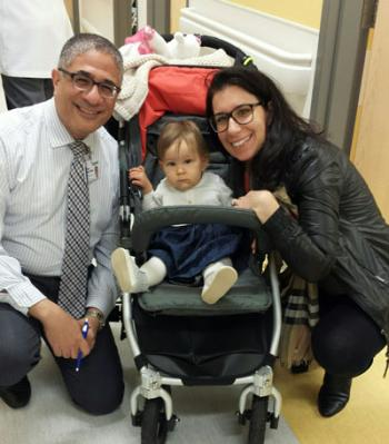 Marina and her mom, Silvana, visit Dr. Emil a year after her surgery.