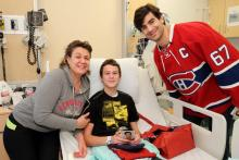 Serguei smiles with captain Max Pacioretty.