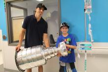 Simon with Marc-André Fleury and Lord Stanley's Cup.