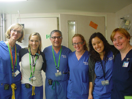 The ward team stands with Dr. Emil (left to right) Cori, Lydia, Dr. Emil, Catherine, Yasmine and Jane.