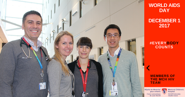 From l. to r. :  Dong Hyun (Danny) Kim, nurse researcher, Dr. Gillian Morantz, Dr. Marie-Astrid Lefebvre, Dr. Chris Karatzios, MCH HIV program director.